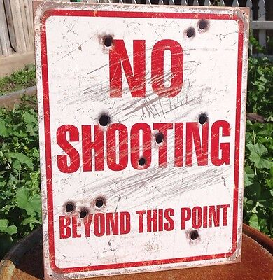 NO SHOOTING BEYOND THIS POINT Rustic Tin Metal Sign Vintage Wall Garage Classic