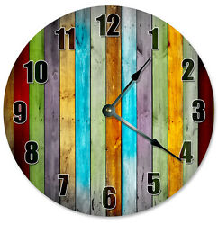 COLORED WOOD BOARDS Clock - Large 10.5 Wall Clock - 2272