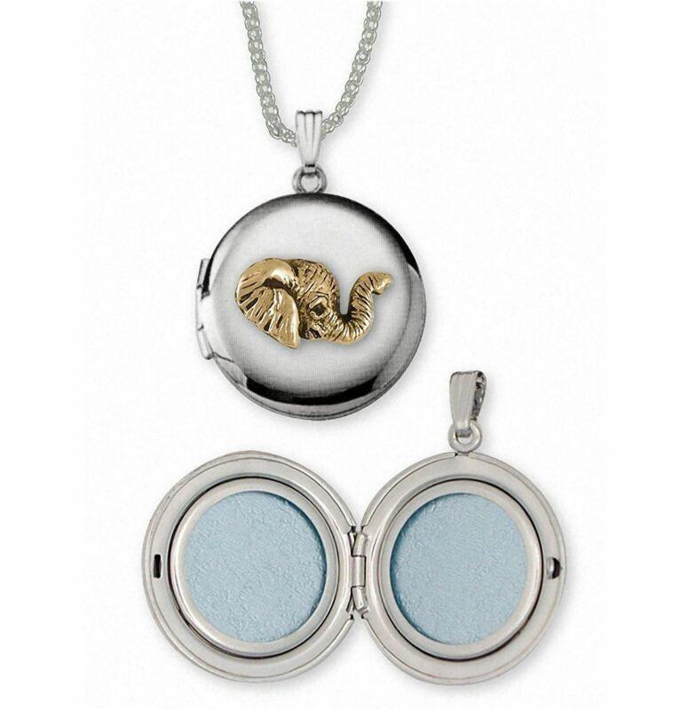 Elephant Jewelry Silver And Gold Elephant Photo Locket Handmade Wildlife Jewelry