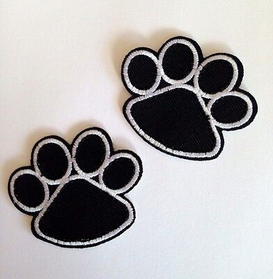 PUPPY DOG (LOT OF 2)CAT ANIMAL PAW PRINT Sew/ Iron DIY Patch Motif Pet Clothes