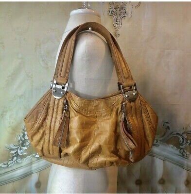 B. MAKOWSKY Large Orange-Tan Leather Slouchy Handbag  Zippers