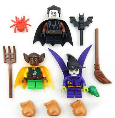 Halloween Trick Or Treaters (3 LEGO TRICK-OR-TREATERS MINIFIG LOT halloween figures pumpkin toy)