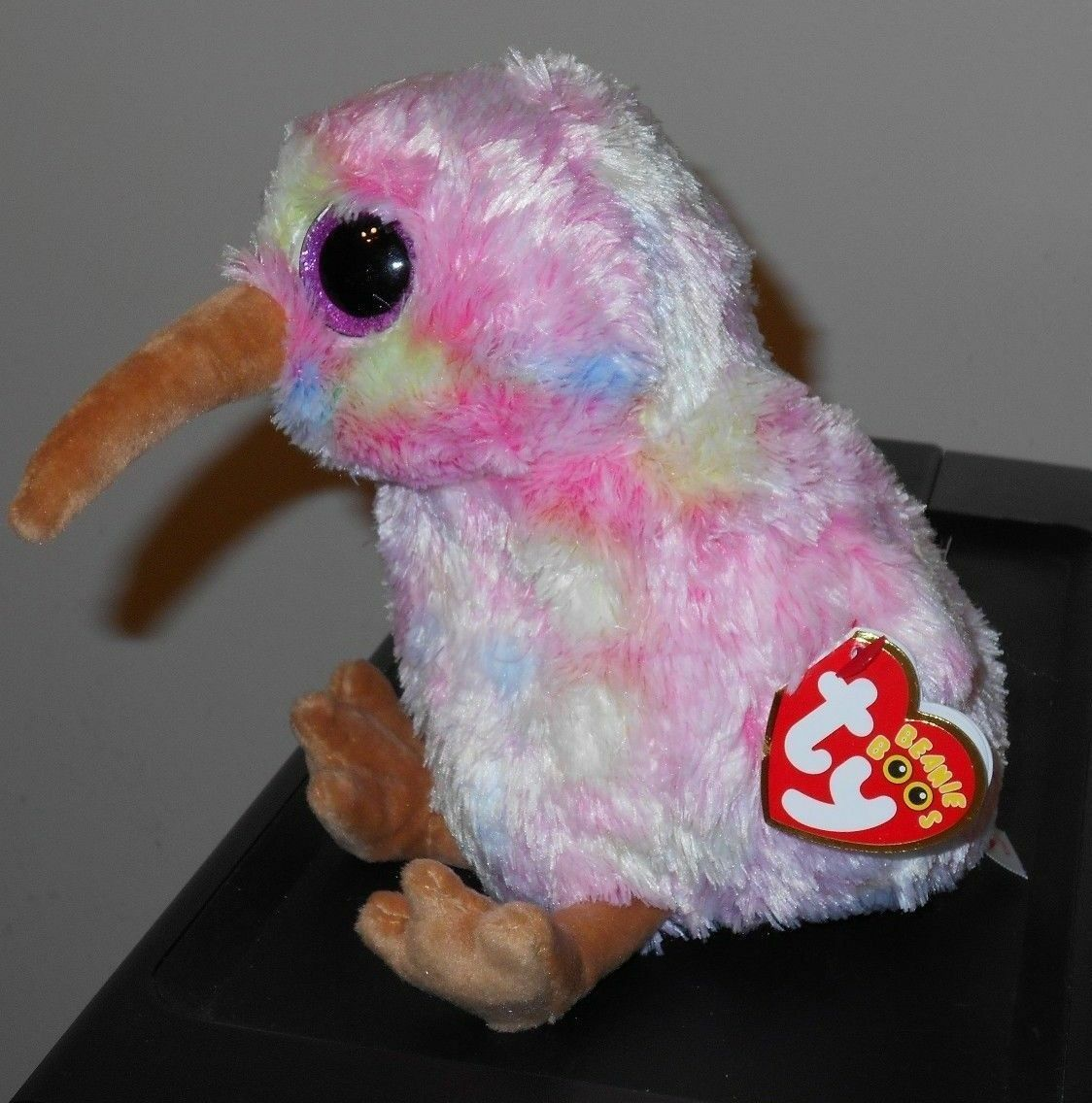Ty Beanie Boos - KIWI the Tie Dyed Pink Bird (6 Inch) 2018 NEW 72e83626989e