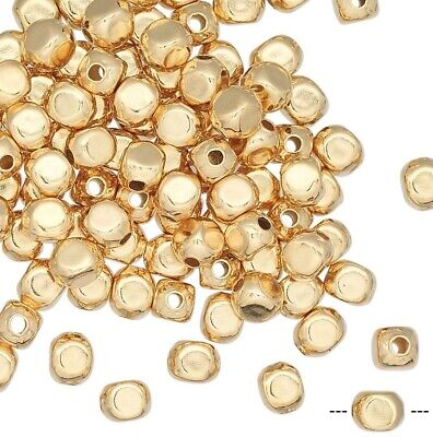 Platinum Small Square Plate - 100 Gold Plated Brass Small 3mm Smooth Square Round Beads