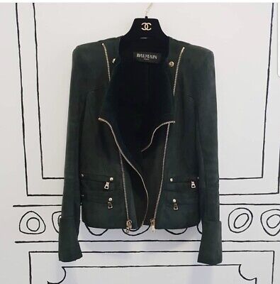$8,330 Balmain Women's Green Shearling Biker Style Leather Jacket Sz38
