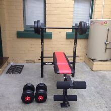 Adjustable weigh bench, barbell and dumbbell set. Hobart CBD Hobart City Preview