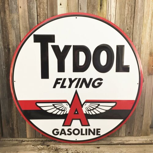 """Tydol Flying A Gas Motor Oil Round Embossed Metal Large Tin Sign 24"""" Vintage New"""
