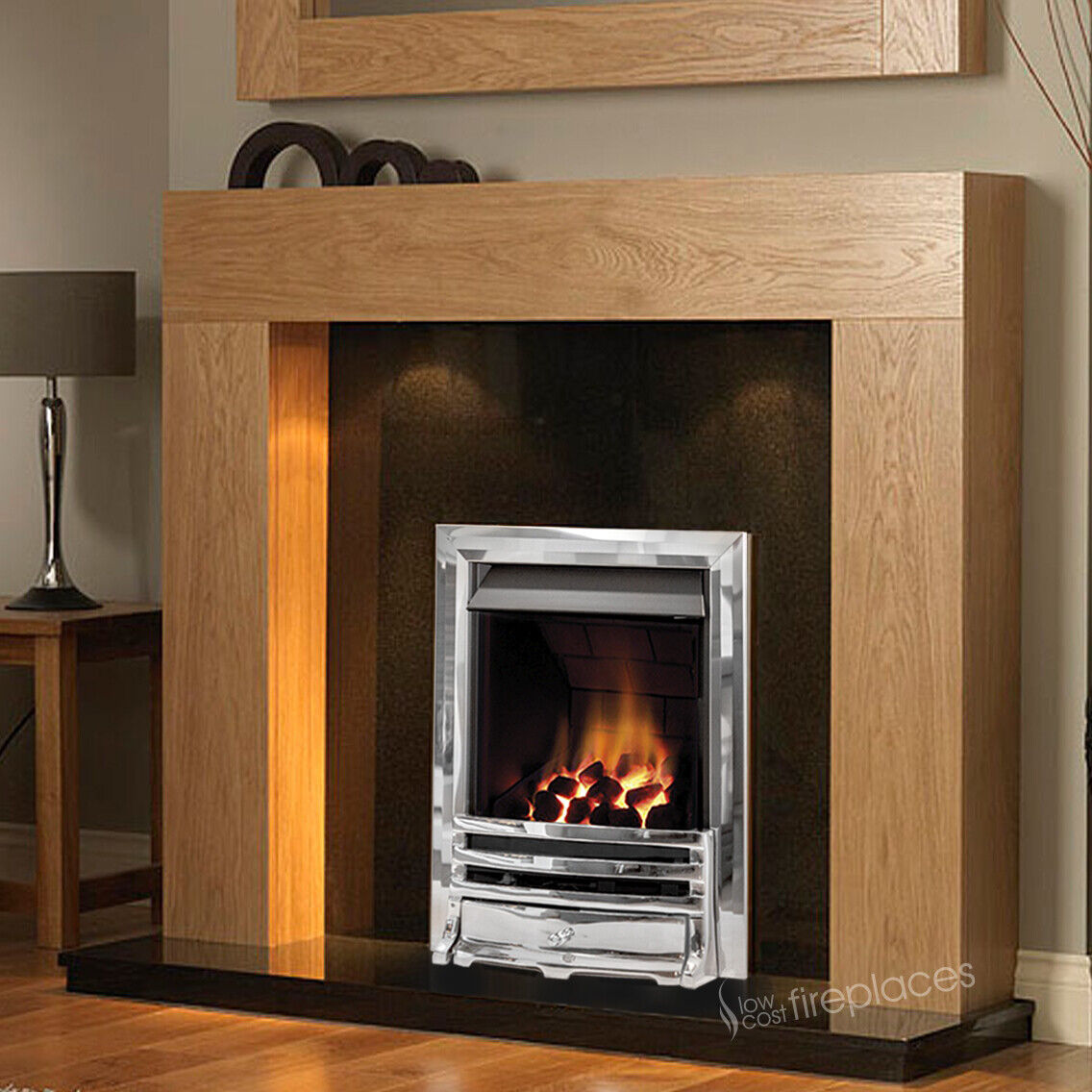 Gas Chrome Oak Surround Black Granite Stone Big Fire Fireplace Suite Lights 54 Ebay