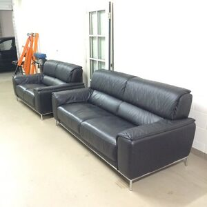 2 x leather lounges, black ONO Pagewood Botany Bay Area Preview
