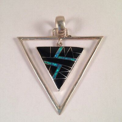 Sterling Silver Inlay Triangle Shaped Pendant