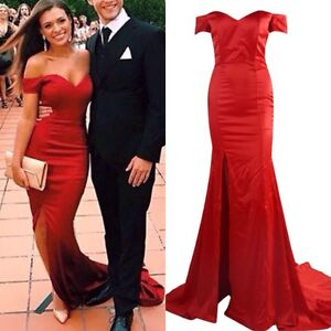 Red Off Shoulder Mermaid Cocktail Gown Ball Evening Prom Formal Dress Surfers Paradise Gold Coast City Preview