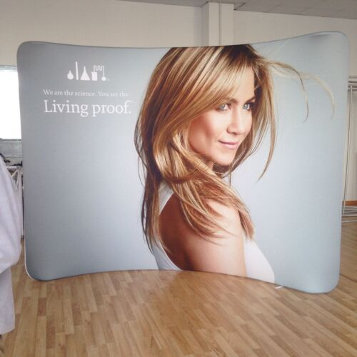 Curved Tension Fabric Display stand Exhibition wall stand with printed graphic