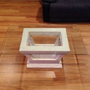 Make an offer!Glass fossil stone coffee table. Immaculate condition. Bossley Park Fairfield Area Preview