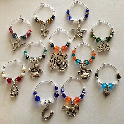 football wine glass charms pick your favorite team set of 4 4 Wine Glass Charms