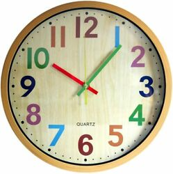Wall Clock,12 Inch Colorful # Easy to Read Silent Non-Ticking  Battery Operated