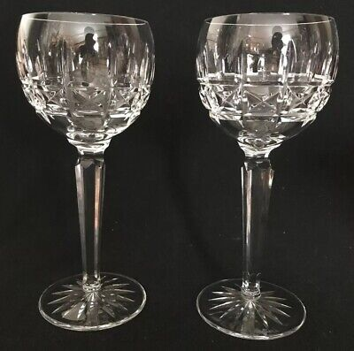 RARE Set Of 2 Waterford Kylemore Crystal Balloon Wine Hock Goblets Crystal Balloon Wine