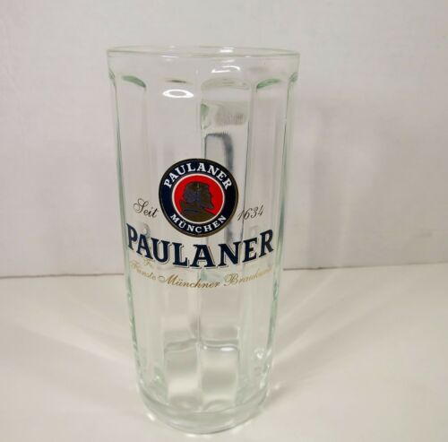 Paulaner Munchen .5 Liter Glass Tall Beer Mug made by SOHM Germany