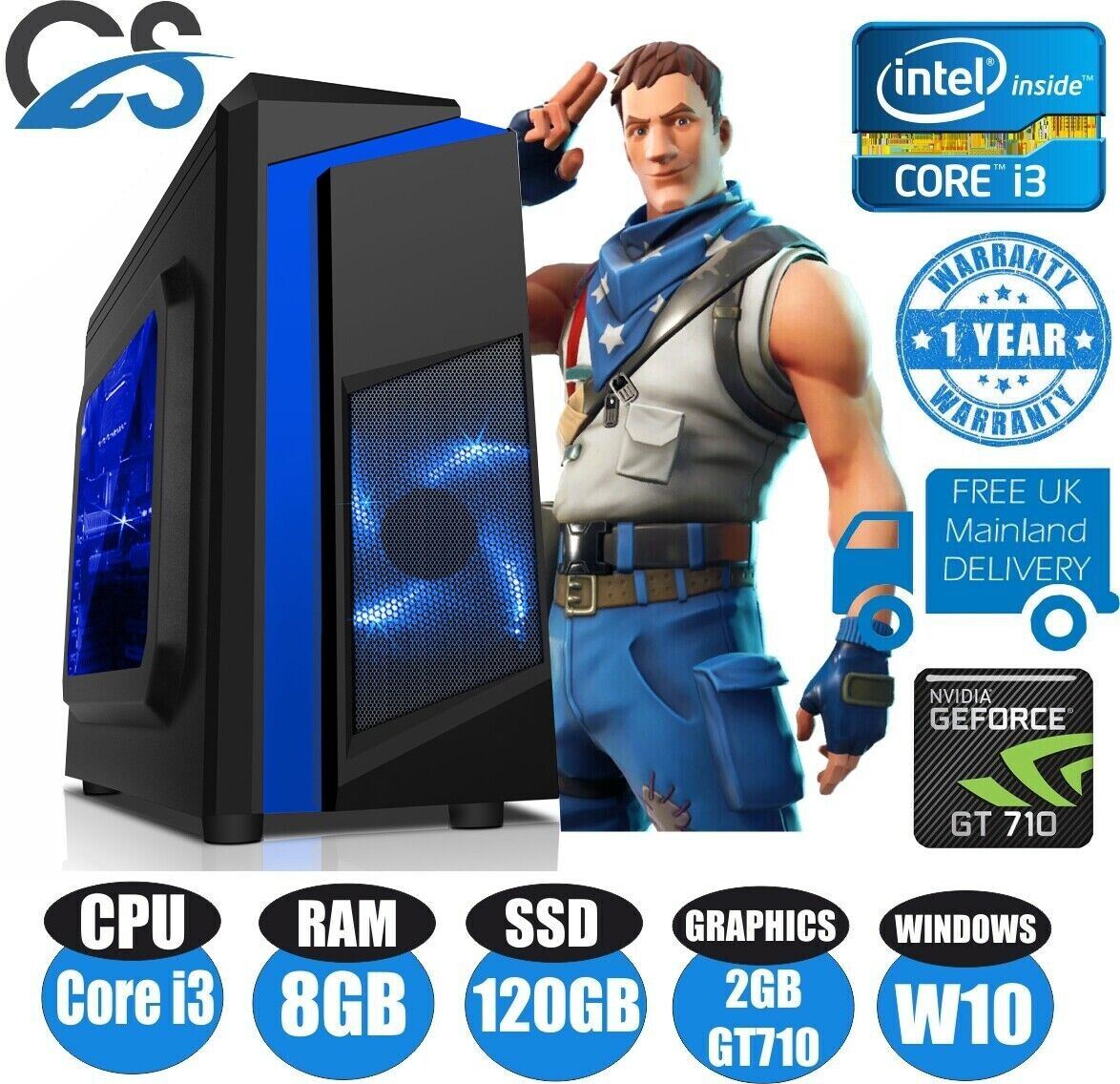 Computer Games - FAST Gaming Computer PC Intel Core i3 8GB 120GB SSD Windows 10 2GB GT710