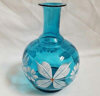 ❀ڿڰۣ❀ STUDIO ART GLASS Hand Painted TURQUOISE & WHITE Winter Wonderland VASE ❀