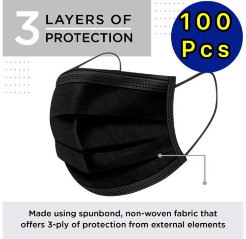 100 / 50 PCS Black Face Mask Mouth & Nose Protector Respirator Masks with Filter