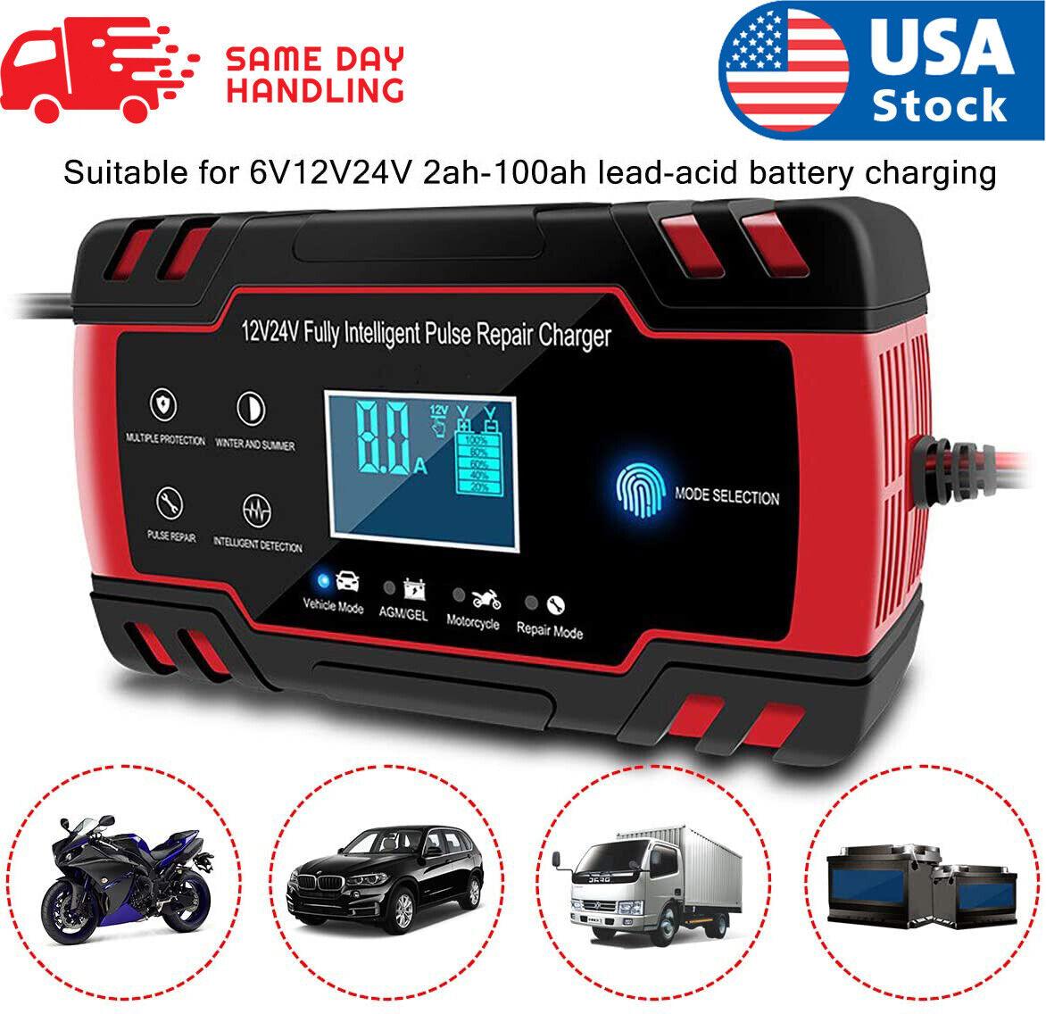 LCD Car ATV 12/24V 6-150Ah Motorcycle Pulse Repair Battery Charger AGM Automatic Automotive Tools & Supplies