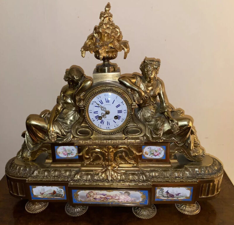 MONUMENTAL FRENCH 19th C SEVRES PORCELAIN & BRONZE RECLINING WOMAN CLOCK