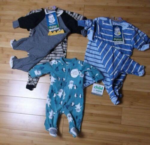 BOY NEWBORN clothes 5x footed sleeper ORGANIC cotton & fleece sleep