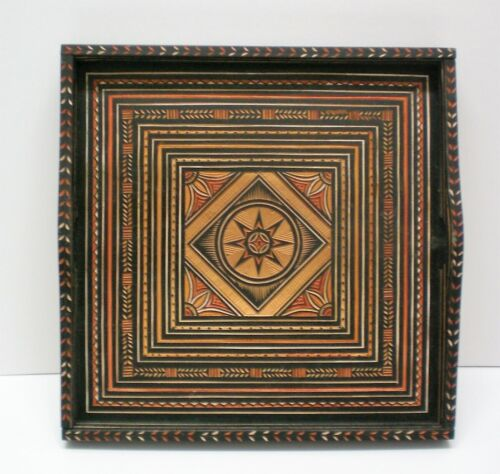 """Vintage Hand carved wooden tray square 10 1/2"""" Beautiful workmanship, Indonisia?"""