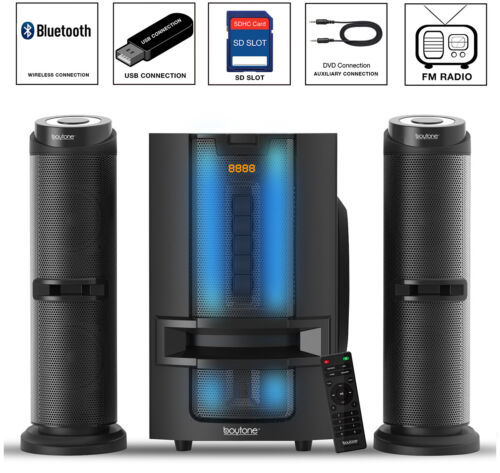 Boytone 2.1 CHANNEL BLUETOOTH SPEAKER SHELF STEREO SYSTEM, LIGHTS, USB, SD 50 W