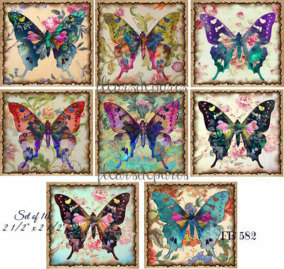 ~ Shabby Chic Classic Butterflies Colorful 10 Prints on Fabric Quilting FB 582 ~