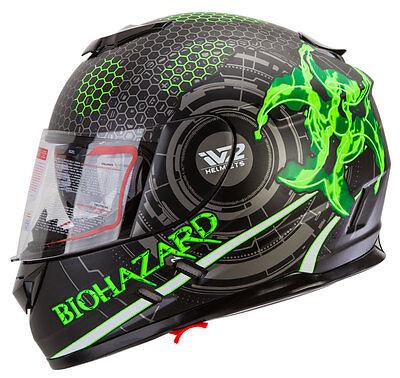 Iv2 Bio Tech Biohazard Dual Visor Full Face Street Motorcycle Helmet  Ah16  Dot