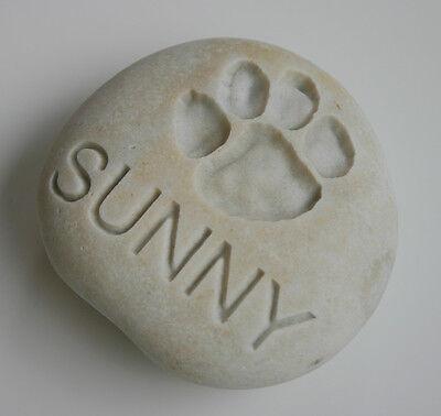 Dog Paw Print Pet Memorial Custom Engraved Memorial Stone Pet Loss Personalized  - CA$30.00