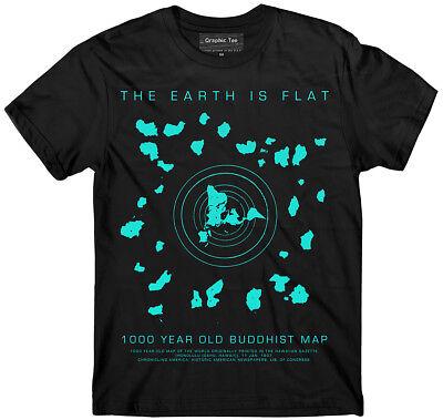 Flat Earth T Shirt  Buddhist Map  Earth Is Flat  Firmament  Nasa Lies  Hoax  Nwo