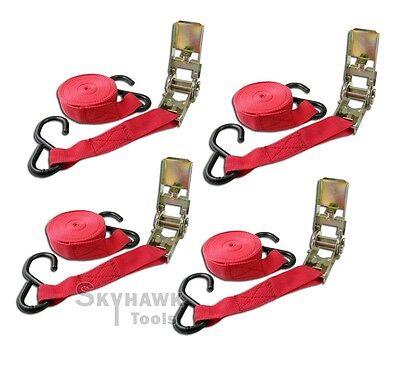 "4 Packs 1 x 15 Ratchet Tie Down/Hook 1,000 Ibs 1"" wide nylon webbing strap"