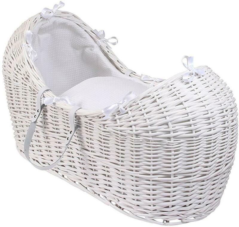 Clair De Lune WAFFLE WICKER WHITE NOAH POD BASKET Baby Crib Nursery