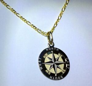 Solid 9ct Yellow and White Gold Etched Round Compass Pendant Parkwood Canning Area Preview
