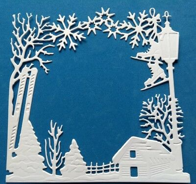"""SKIS & SKATES WINTER SCENE"" Large Topper.   Christmas.(See postal discount!)"
