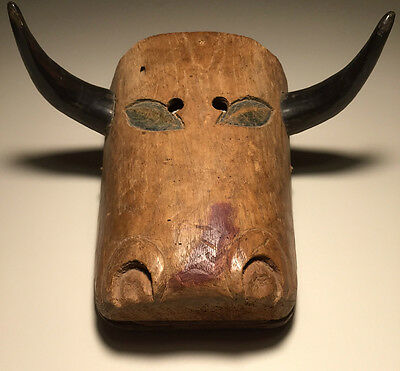 Ethnographic, Danced, Guatemalan Torito (Bull) Wooden Mask w/Real Horns & Patina