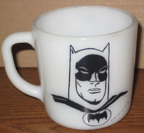 1966 Batman Westfield Mug Cup Milk Glass Comic Book Superhero Batmania