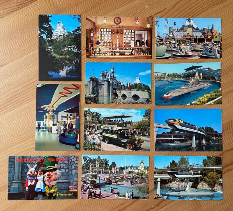 Vintage Disneyland Postcard Lot 10 Matterhorn Main Street Monorail Teacups