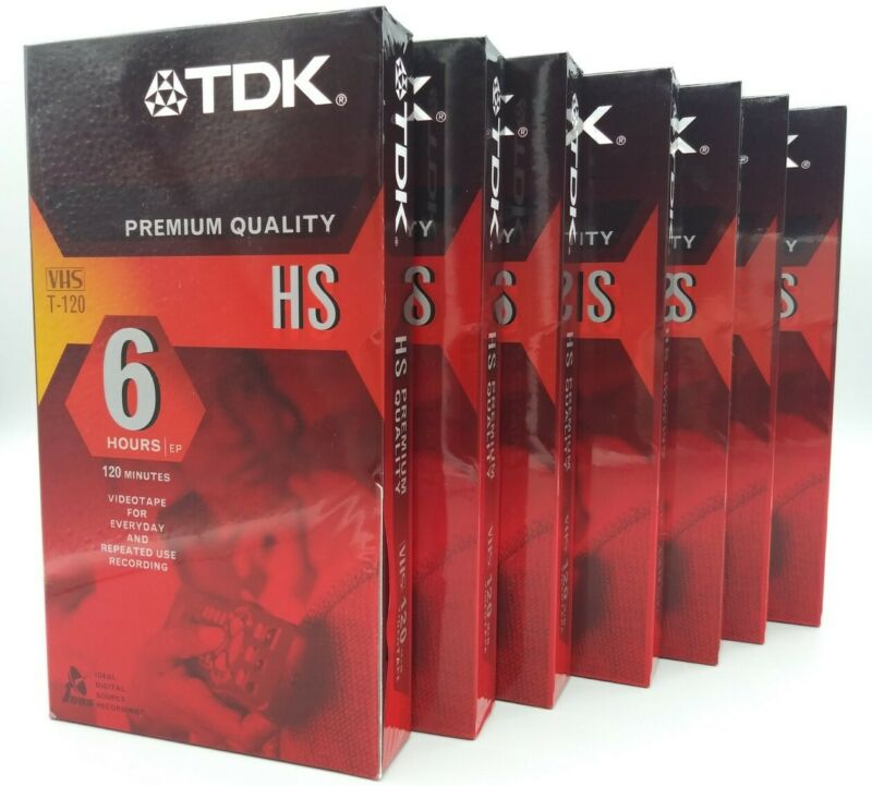 TDK T-120HS 6 HOUR EP PREMIUM QUALITY VHS VIDEO LOT OF 7 BRAND NEW SEALED !!!