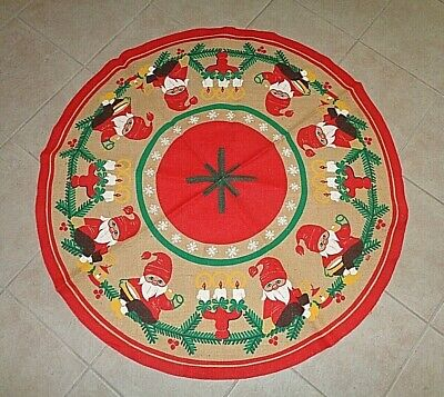 """VINTAGE 41"""" BURLAP CHRISTMAS TREE SKIRT WITH ELVES LANTERNS AND CANDLES~ EUC"""