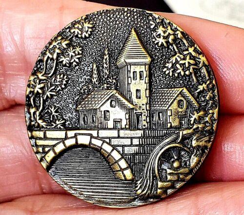 Antique Metal Picture Button…CASTLE BUILDINGS BRIDGE...Paris Back French Tight