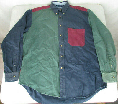 Vtg 90s Nautica Faded Wash Colorblock Long Sleeve Button Up Shirt Mens Size L