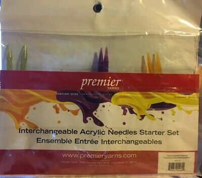 New! Premier Yarns Interchangeable Acrylic Knitting Needle Set Sizes 6, 8, & 10