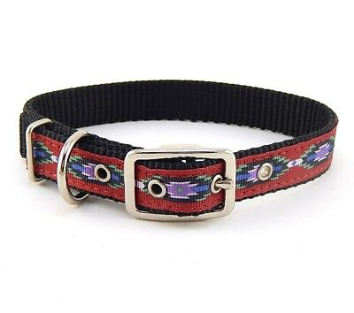"HAMILTON ST Nylon Dog Collar, 22"" x 3/4"", Black with Southwest Overlay"