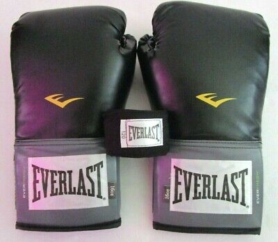 "Everlast Pro Style Training Boxing Gloves 16 oz AND Hand Wraps 120"" Black"