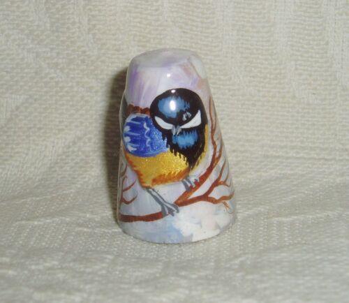 Russian Сollectible Handpainted Decorative Wood Thimble Titmouse Bird