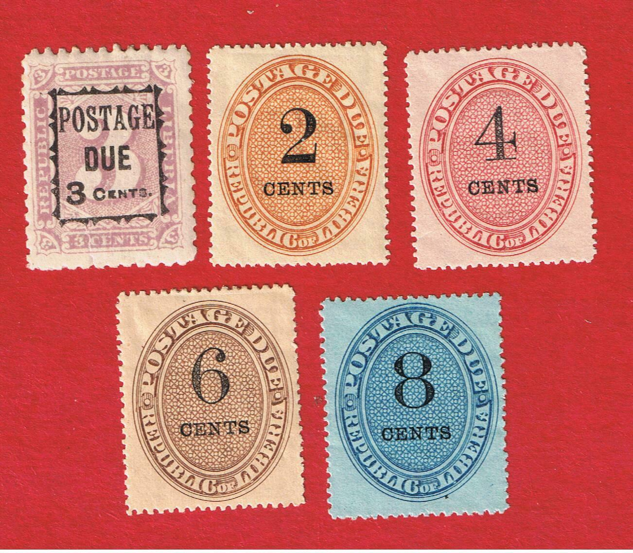 Liberia J1 J3-J6 MVFLH OG Postage Due Free S/H - $6.69