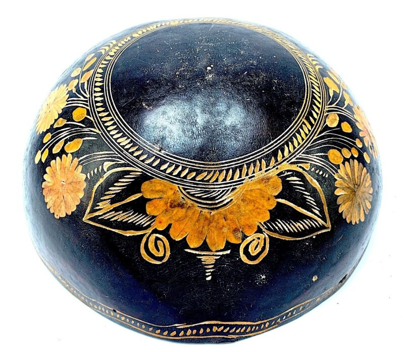 Rare Mexican Antique Hand Carved Gourd Bowl Gorgeous